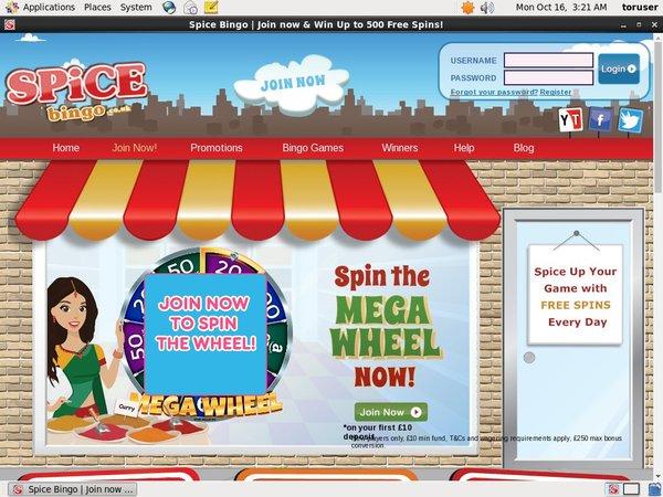 Spice Bingo Registration